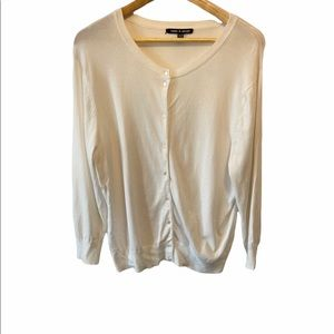 CABLE&GAGUE White Long Sleeve Tight Knit Cardigan